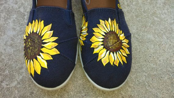 Custom Hand Painted Sun Flower TOMS. by TheMagicOfShoes on Etsy