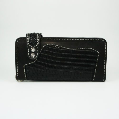 BLACK LIZARD & COW LEATHER HANDCRAFTED Men's BIKER BIFOLD LONG WALLET A-W016