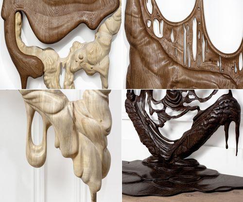 wood sculpture melting chocolate