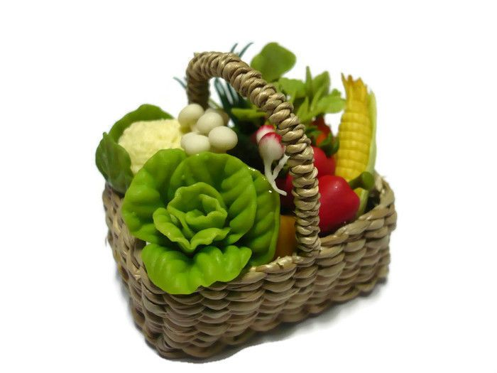Dollhouse Miniatures Food Picnic Basket Barbie Assorted Fruit Vegetable Wicker-2 #fullrich