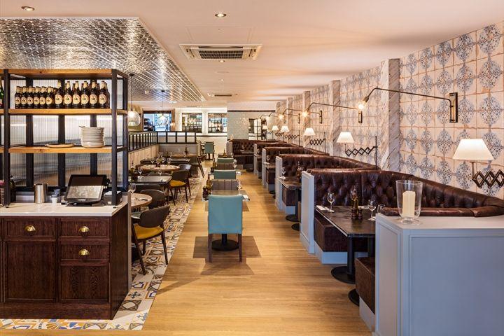 Европейский стиль в интерьере ресторана: коричневые кожаные диваны