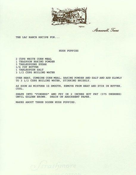 Lady Bird Johnson's Recipe for Hush Puppies : lbjlib.utexas