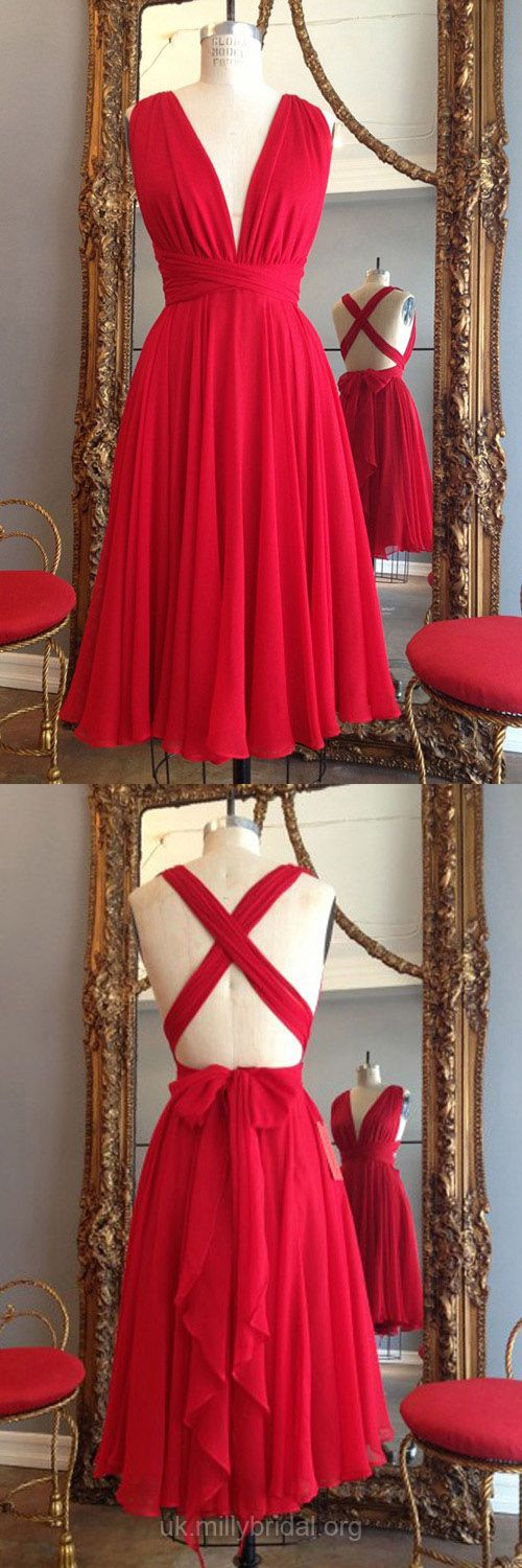 Red Prom Dresses Short, 2018 Prom Dresses For Teens Simple, A-line Party Dresses V-neck, Chiffon Cocktail Dresses Knee-length Ruffles, Backless Homecoming Dresses Sexy
