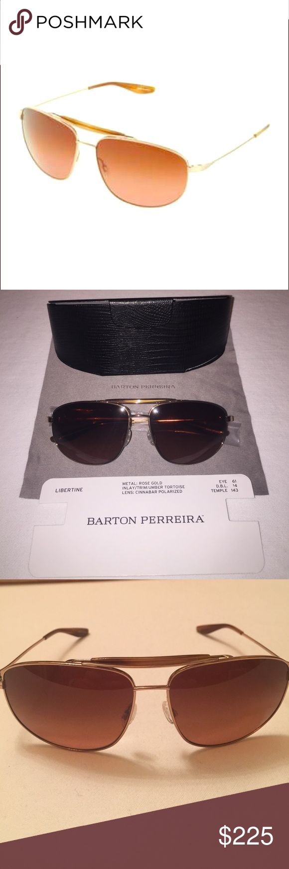 NWOT Barton Perreira Libertine sunglasses Barton Perreira Libertine style sunglasses. Rose gold metal aviator frames. Cinnamon polarized lenses. Double bridge with matte cobalt acetate brow bar. Signature Barton Perreira grill detail on temple. 100% UV/UVB protection. Made in Japan 🇯🇵! UNISEX Barton Perreira Accessories Glasses