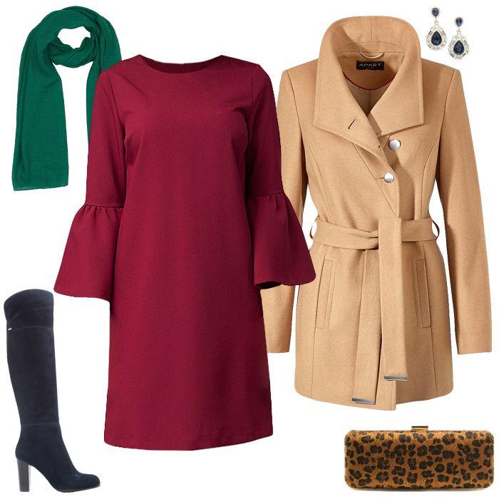 Вишневое платье, синее пальто, зеленый леопардовый шарф, черные сапоги