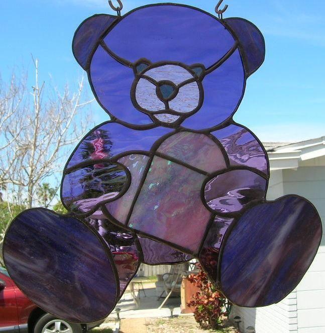 Teddy Bear stained glass purple