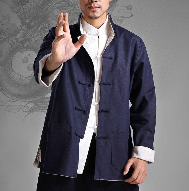 2c33a533185 Bruce Lee Wing Chun Kung Fu Jacket Both Sides Wear Tops Martial Arts Long  Jersey