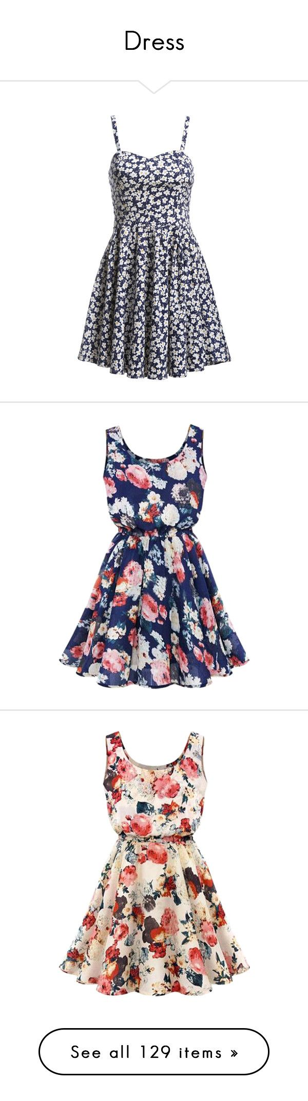 """""""Dress"""" by exoo ❤ liked on Polyvore featuring dresses, vestidos, blue, pleated dress, print shift dress, short blue dresses, floral dress, sleeveless shift dress, robe and short dresses"""