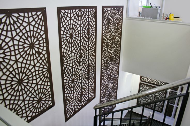 Stairwell decorated with screen panels in the design 'Rome' at our factory office, Melbourne. ~QAQ  #decorativescreens #walldecor