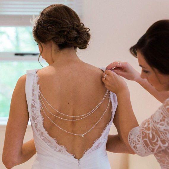 Hintergrund Braut Braut zurück Halskette Boho Halskette