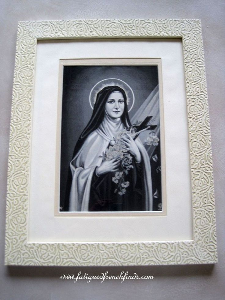 Stunning Antique French Framed Neyret Freres Stevengraph, St. Therese Of The Child Jesus Approved by Carmel de Lisieux www.fatiguedfrenchfinds.com