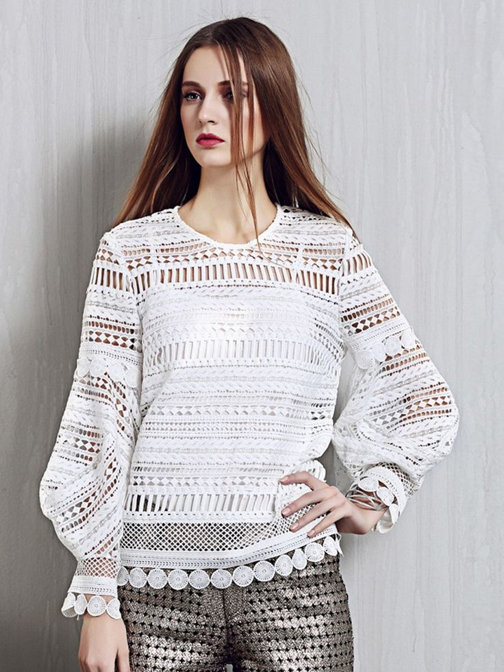 White Cut Out Crochet Lace Trim Puff Sleeve Blouse
