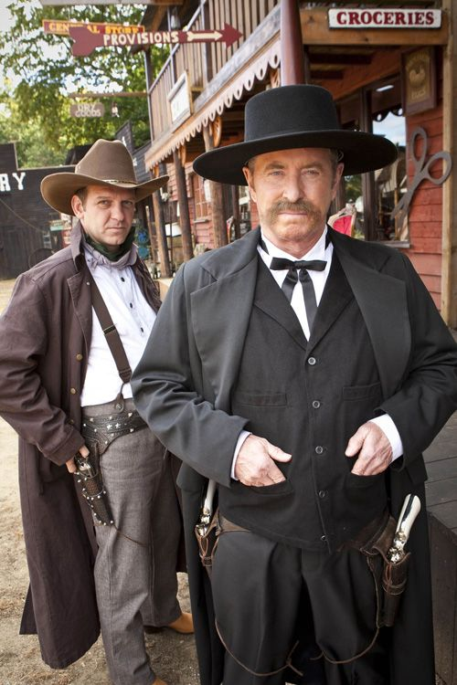 Midsomer Murders: Blood On The Saddle. John Nettles and Jason Hughes as Tom and Ben in wild west costumes