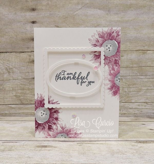 Painted Harvest double frame card boasts gorgeous Rich Razzleberry tones layered in double frames. Video tutorial included. Stampin' Up!'s Layering framelits are used for the greeting frames.