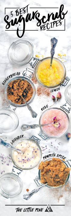 Why buy expense sugar scrubs when you can make them at home with just 2 ingredients? Check out our 5 favorite recipes :)