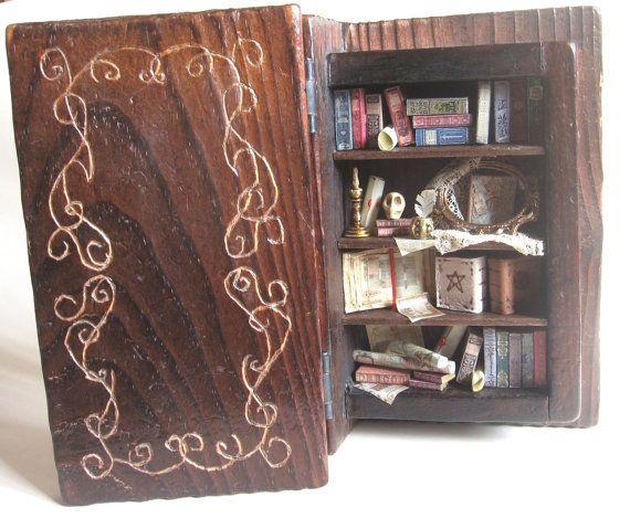 Wooden book with antique miniatures  by ArtislunaMiniaturas, €150.00