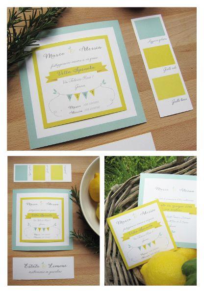 Partecipazioni a scheda multipla tema limone