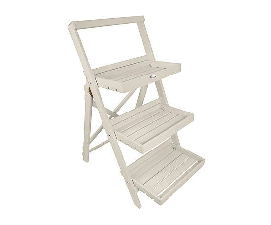 Scaletta portavasi in legno bianca - 73x91x47 cm