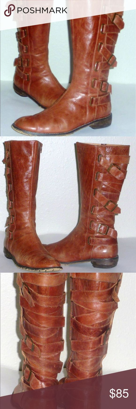 Seychelles Buckle Strappy Distressed Leather Boots Seychelles Buckle Wrap Distressed Leather Boots. In good condition. Seychelles Shoes Lace Up Boots
