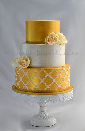 3 tier antique gold wedding cake.
