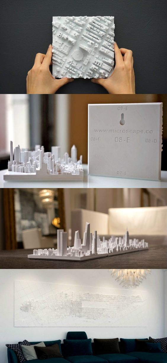 The Microscape is a really cool art-mural of a city. You can purchase a 3D printed 'square plot of the city' to give your mantelpiece a cool, kitschy touch, or go ahead and purchase adjacent plots to make a crazy mural of your metropolitan city. #YankoDesign: