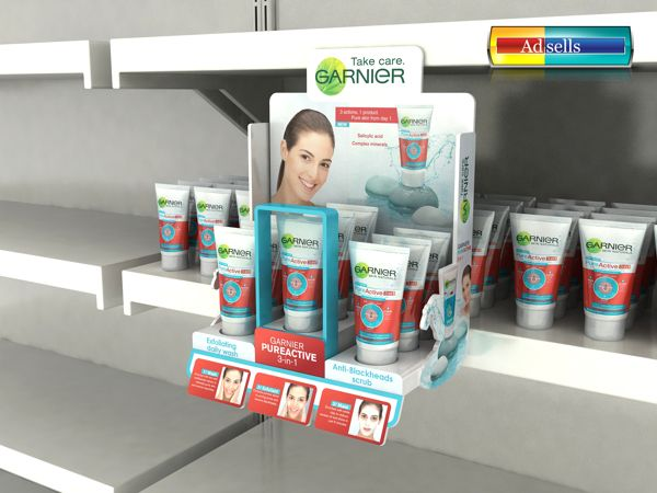 a nice shelf-level product display highlighting a feature product | Garnier Pure Active Glorifier on Behance