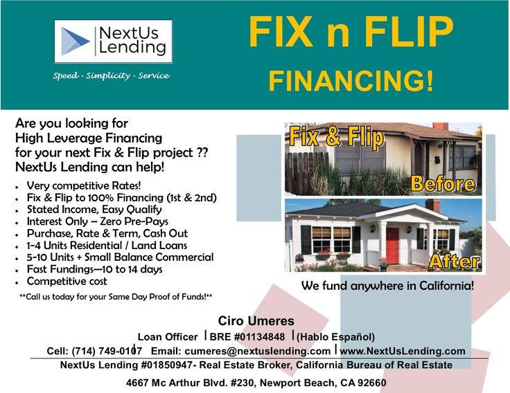 Fix N Flip Financing Short Term Interest Only No Pre Payment