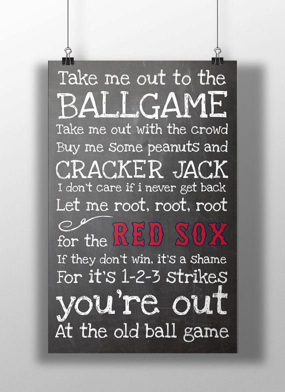 Boston Red Sox Take Me Out to the Ballgame by BigLeaguePrints, $12.00