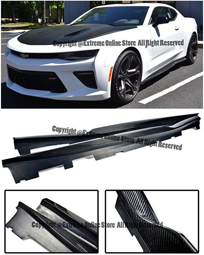 For 16 Up Chevrolet Camaro T6 Style Carbon Fiber Rocker Panel Side Skirts Extension Lower Lip Splitter 2016 2017 16 17 Chevrolet Camaro Camaro Camaro V6