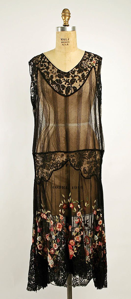 Afternoon dress Date: ca. 1924 Culture: French Medium: cotton, silk Dimensions: Length: 43 in. (109.2 cm) Credit Line: Gift of Phyllis Newma...