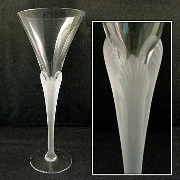 Sasaki Crystal Aegean Frosted Stem Art Deco Lalique Style