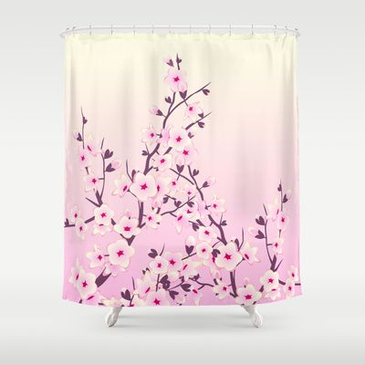 Cherry Blossoms Pink Shower Curtain
