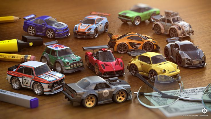 Using models from Tabletop Racing, I created this tableau of tiny cars that I wish were real! If I could rush out and buy these, I would in a heartbeat. 3DS MAX Vray Photoshop