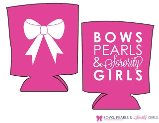 Bows, Pearls, and Southern Sorority Girls Koozies in Navy & Pink! Preorder now at bowspearlsandsororitygirls.com