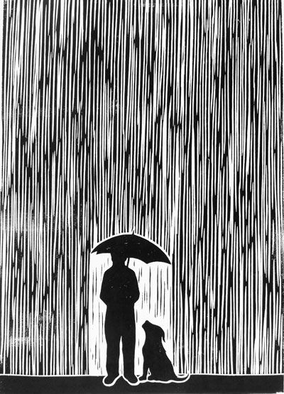 Lino Print Standing In The Rain by Chris Bourke, via Flickr like the background