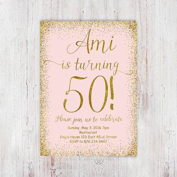 50th birthday invitation pink gold glitter by