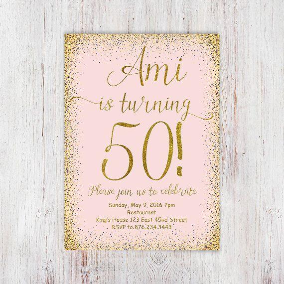 50th birthday invitation pink gold glitter by InvitationsDigital