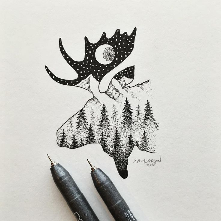 Finally almost finished with this one. So many little dots! Need to balance it out more on the bottom with some darker tones.  #moose #art #illustration