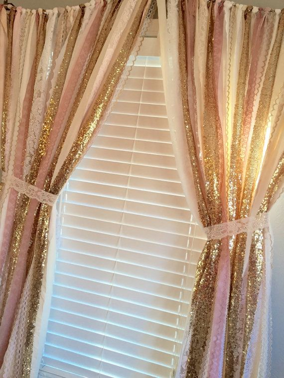 pink and gold curtains Pink & Gold Sparkle Sequin Garland Curtain with Lace   Nursery  pink and gold curtains