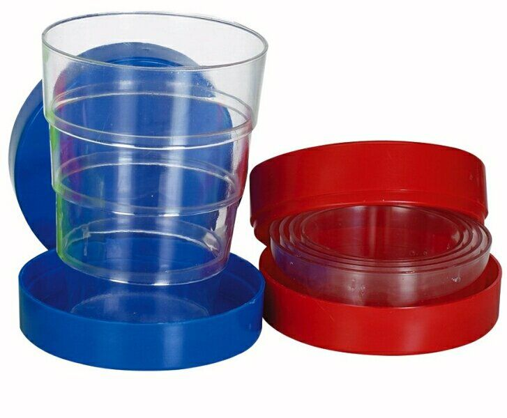 Folding cup.  Ours was light green, and Mom kept it in the glove compartment in the car.