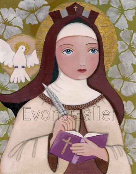 "Folk Art Painting,"" Saint Teresa of Jesus,Teresa of Ávila"", Print (8 x 10inches, 20.3 x 25.4cm), Mixed Media, Wall Decore by Evona"