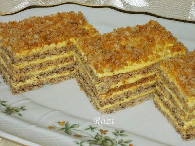 Rozi Erdélyi konyhája: Pergelt cukros,diós süti (Diós-grillázsos)