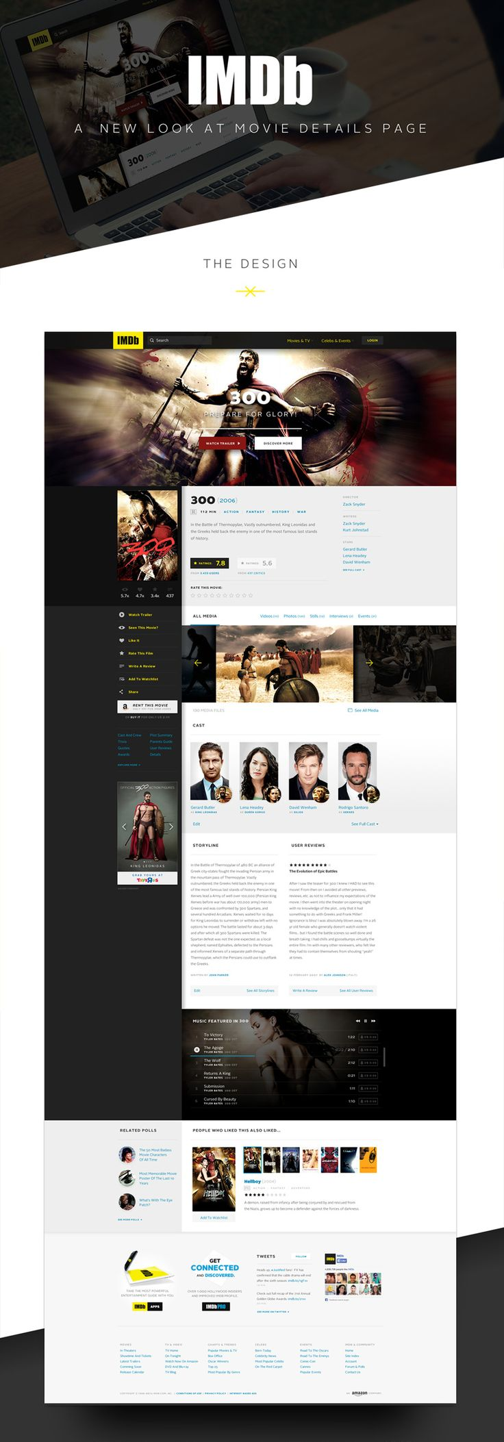 Info section (what you see after you click on it from the home page) hero image on top, literate posters with designer,client, release info under. Maybe even a trailer and synopsis