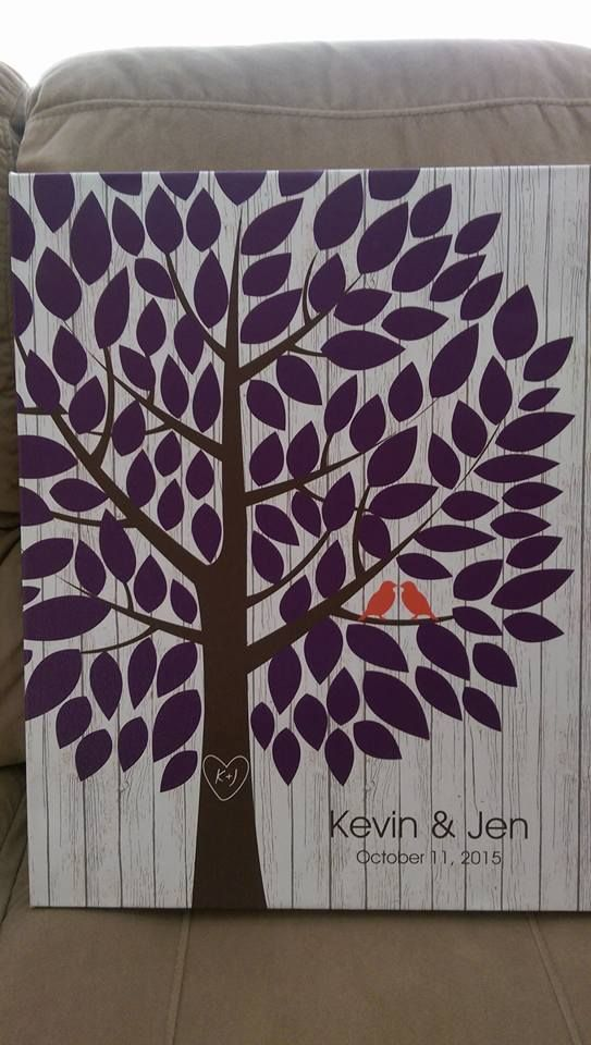 Whitewashed Wooden Wedding Tree Canvas | Guest Book Alternative | Rustic Wedding | Customer Photo | Wedding Colors - Purple & Orange | peachwik.com