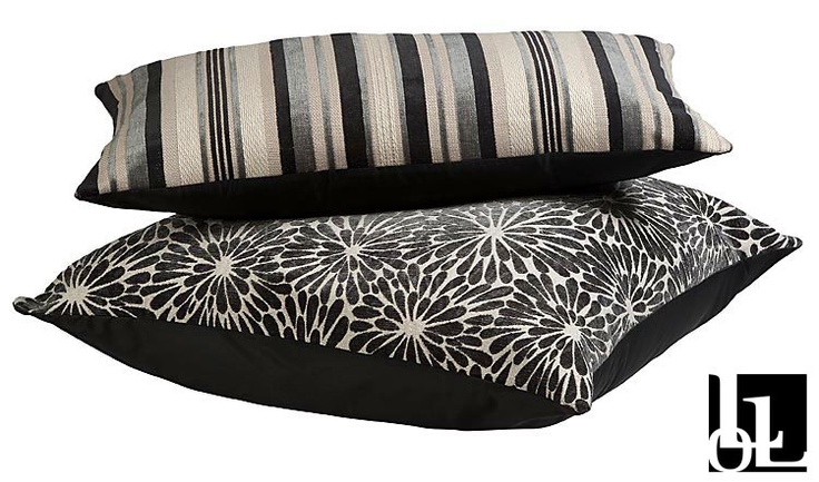 Mirabel Stripe Charcoal and Dyoto Blossom Charcoal Scatter Cushions at Loads of Living