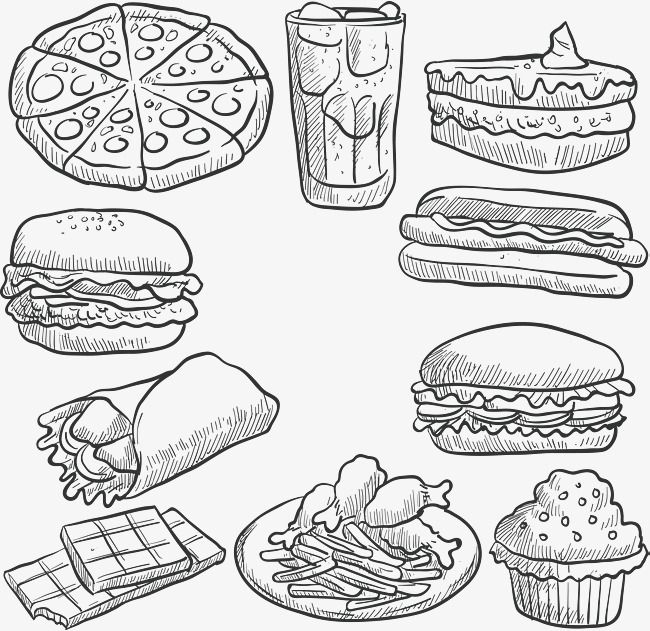 Hand Painted Fast Food Design Png And Vector Food Design Fast Food Food Png