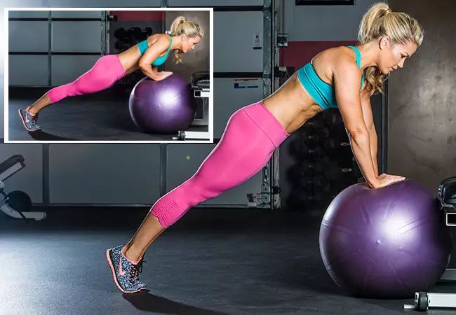 Brooke Stacey - Arm workout - close-grip ball push-up - Women's Health and Fitness magazine.