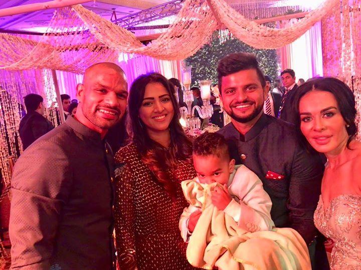 Shikhar Dhawan Suresh Raina attended Virat Kohli's wedding reception in New Delhi with their respective family members - http://ift.tt/1ZZ3e4d
