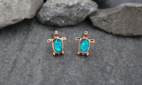 Opal Stud Earrings Opal Earrings Turtle Earrings by MyBodiArt