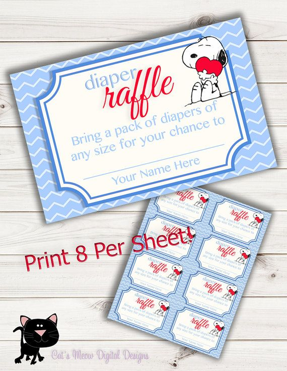 Snoopy Baby Shower Game Raffle Cards~Printable~INSTANT DOWNLOAD